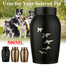 Load image into Gallery viewer, Gold/Black Stainless steel Urns Pets Dog Cat Birds Mouse Cremation Ashes Urn Keepsake Casket Columbarium Pets Memorials - petsprive.com