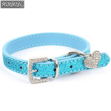 Load image into Gallery viewer, Diamond Dog Collar Leash Diamond Heart Pendant Leather Dog Leash Necklace Pendant Crystal Cat Medallion Leash Goal Dog Suppilers - petsprive.com