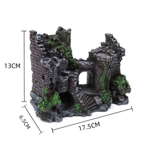 Resin Artificial Fish Tank Decorations Ancient Castle Landscaping For Aquarium Rock Cave Building Decoration Aquarium Accessorie - petsprive.com