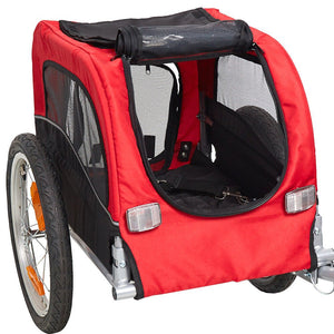Pet Dog Cat Bicycle Trailer Doggie Kitten Bike Carrier for Outdoor Traveling Jogging Cycling - Red - petsprive.com