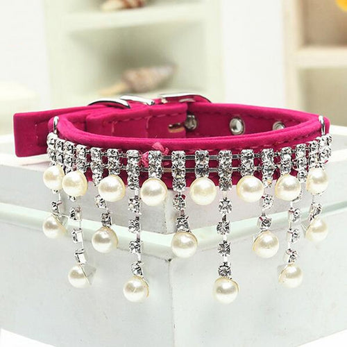 Fashion Female Wedding Pet Products for Cat Velvet Crystal Pearl Necklace Luxury Jewelry dog pet cat collar - petsprive.com