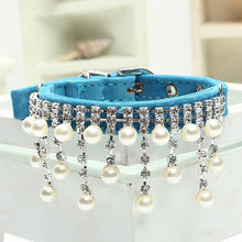 Load image into Gallery viewer, Fashion Female Wedding Pet Products for Cat Velvet Crystal Pearl Necklace Luxury Jewelry dog pet cat collar - petsprive.com