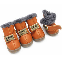 Load image into Gallery viewer, Dog Shoes Winter Waterproof Small Dog Shoes Fleece-Lined Warm Dog Snow Boots Soft Rubber Sole Anti-Slip PU/Suede Chihuahua Shoes - petsprive.com