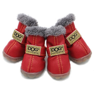 Dog Shoes Winter Waterproof Small Dog Shoes Fleece-Lined Warm Dog Snow Boots Soft Rubber Sole Anti-Slip PU/Suede Chihuahua Shoes - petsprive.com