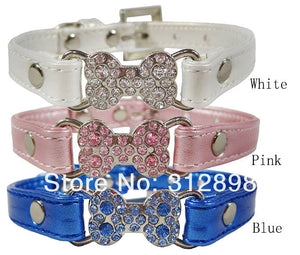 Bling Bone Pet Dog Collar with Rhinestone For Puppies Small Animals Cat Little Breeds Chihuahua Yorkshire Accessories Products - petsprive.com