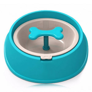 Dog Cat Driking Water Fun Bone Shaped Slow Feeder Dog Food Bowls Water Bowl Dishes for Puppy Small Large - petsprive.com