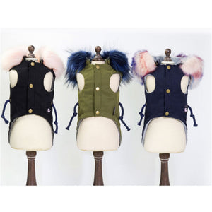 Winter Dog Clothes Luxury Faux Fur Collar Dog Coat for Small Dog Warm Windproof Pet Parka Fleece Lined Puppy Jacket - petsprive.com