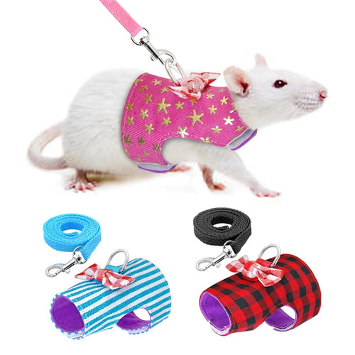 Small Pet Rabbit Harness Vest and Leash Set For Ferret Guinea Pig Bunny Hamster Puppy Bowknot Chest Strap Harness - petsprive.com