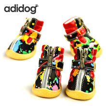 Load image into Gallery viewer, Pet Dog Shoes Winter Super Warm White Black  4pcs/set Dog's Boots zipper Anti-Slip XS XL Shoes Snow Cute - petsprive.com