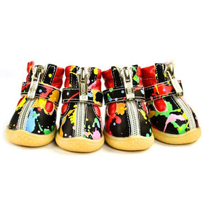 Pet Dog Shoes Winter Super Warm White Black  4pcs/set Dog's Boots zipper Anti-Slip XS XL Shoes Snow Cute - petsprive.com
