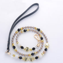Load image into Gallery viewer, Black Gold Pearl Beads Dog Leash Strong PU Handle Design Wire Pet Chain Walking Jogging Leashes for Small Medium Size Dogs Cat - petsprive.com