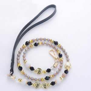 Black Gold Pearl Beads Dog Leash Strong PU Handle Design Wire Pet Chain Walking Jogging Leashes for Small Medium Size Dogs Cat - petsprive.com
