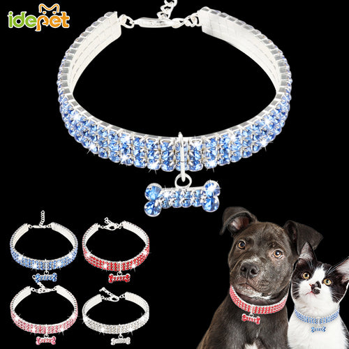 Lovely Tag Dog Collars Crystal Bling Rhinestone Pet Necklace for Cats Sparkling Pet Dog Collars Leash Reflective Dogs Collars 25 - petsprive.com