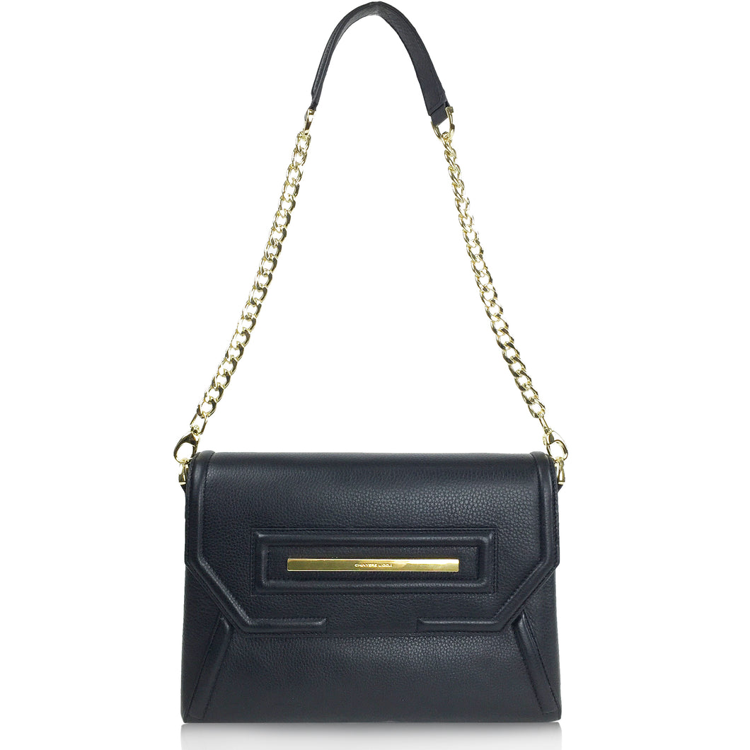Claudette Portfolio Bag in Black Onyx & Gold
