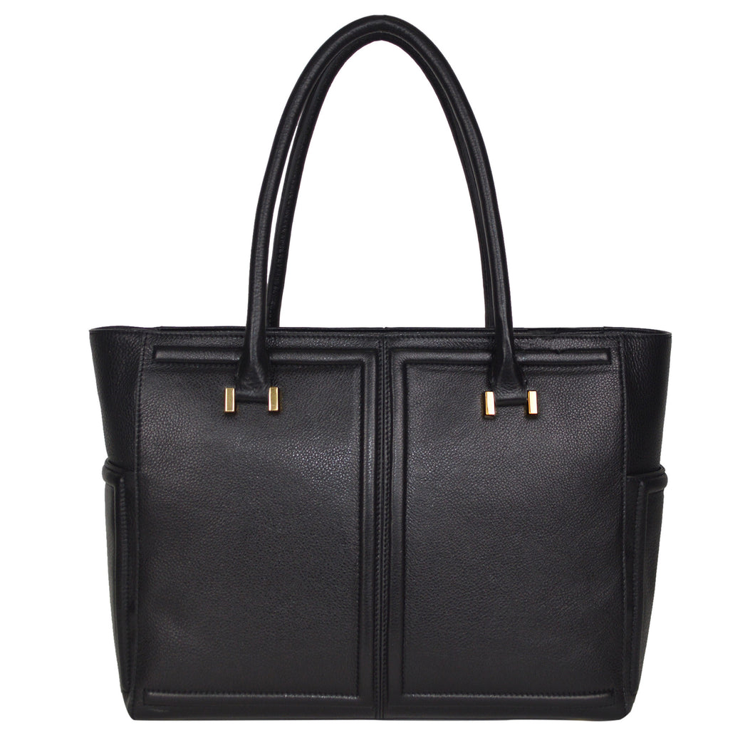 Mackenzie Tote in Black Onyx & Gold