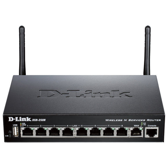 D-Link DSR-250N IEEE 802.11n Wireless Integrated Services Router 2.40 GHz ISM Band - 2 x Antenna - 54 Mbit/s Wireless Speed - 8 x Network Port - 1 x Broadband Port - USB - Gigabit Ethernet - Desktop
