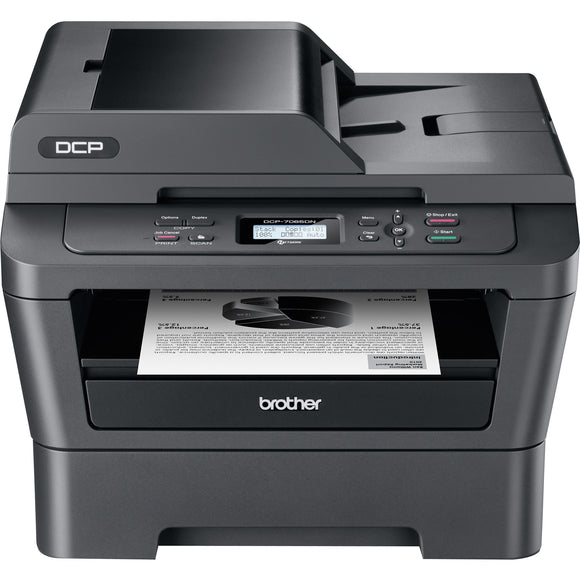 Brother DCP-7065DN Laser Multifunction Printer - Monochrome - Plain Paper Print - Desktop Copier/Printer/Scanner - 27 ppm Mono Print - 2400 x 600 dpi Print - 27 cpm Mono Copy LCD - 600 dpi Optical Scan - Automatic Duplex Print - 250 sheets Input - Fast Et