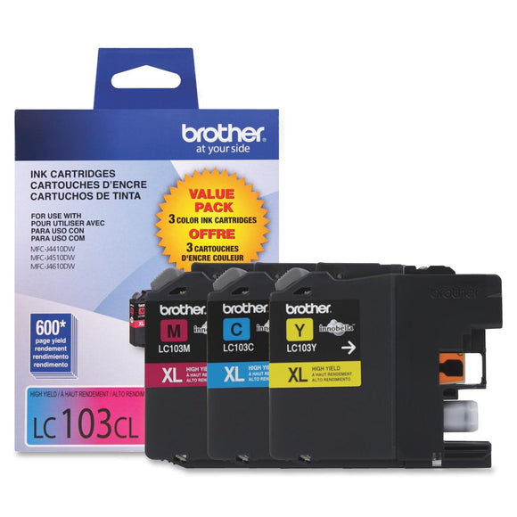 Brother Innobella LC1033PKS Ink Cartridge Inkjet - High Yield - 600 Page Cyan, 600 Page Magenta, 600 Page Yellow