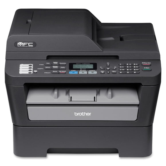 Brother MFC-7460DN Laser Multifunction Printer - Monochrome - Plain Paper Print - Desktop Copier/Fax/Printer/Scanner - 27 ppm Mono Print - 2400 x 600 dpi Print - 27 cpm Mono Copy LCD - 600 dpi Optical Scan - Automatic Duplex Print - 250 sheets Input - Fas