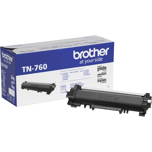 Cartouche de toner Brother TN-760 Original - Noir Laser - Grand rendement - 3000 Pages - 1 / Chaque