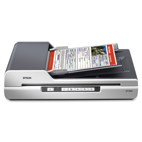 Epson WorkForce GT-1500 Sheetfed Scanner - 1200 dpi Optical 48-bit Color - 16-bit Grayscale - 20 - 12 - USB