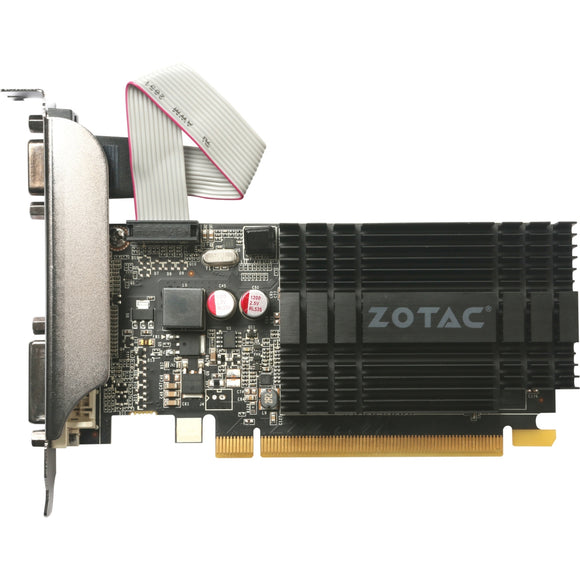 Zotac GeForce GT 710 Graphic Card - 954 MHz Core - 1 GB DDR3 SDRAM - SLI - Passive Cooler - OpenGL 4.5, OpenCL, DirectX 12 - 1 x HDMI - 1 x VGA - 1 x Total Number of DVI - PC - 3 x Monitors Supported