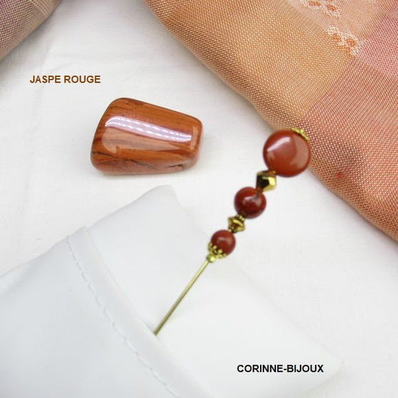 Broche épingle à chapeau en jaspe rouge