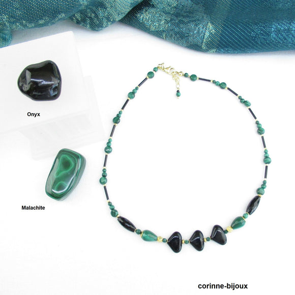 Collier en pierre de Malachite et Onyx