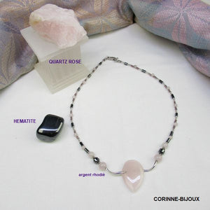 Collier Quartz rose et Hematite