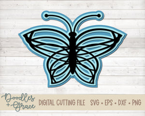 3D Layered Butterfly SVG Freebie-SVG File-Doodles and Grace