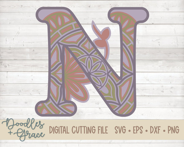 3D Letter N Mandala SVG-SVG File-Doodles and Grace