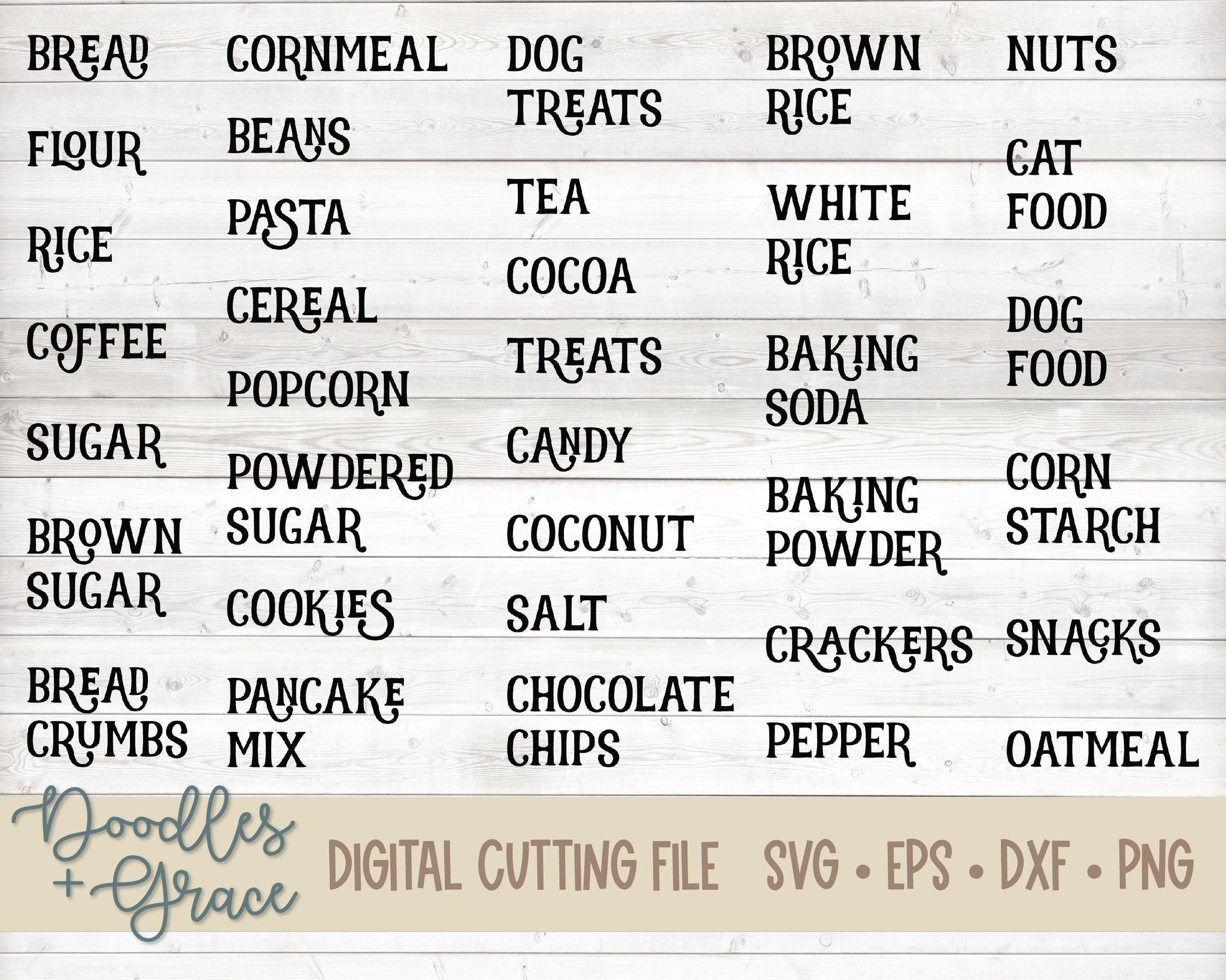Kitchen Labels SVG-SVG File-Doodles and Grace