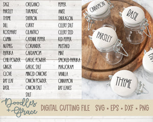 Rustic Spice Jar Words SVG