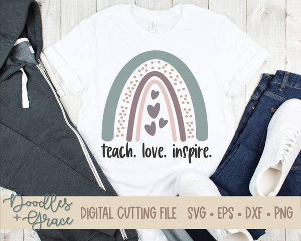 Teach Love Inspire Rainbow SVG-SVG File-Doodles and Grace