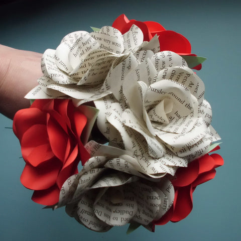 Mixed Valentine/Wedding Paper Rose Bouquet
