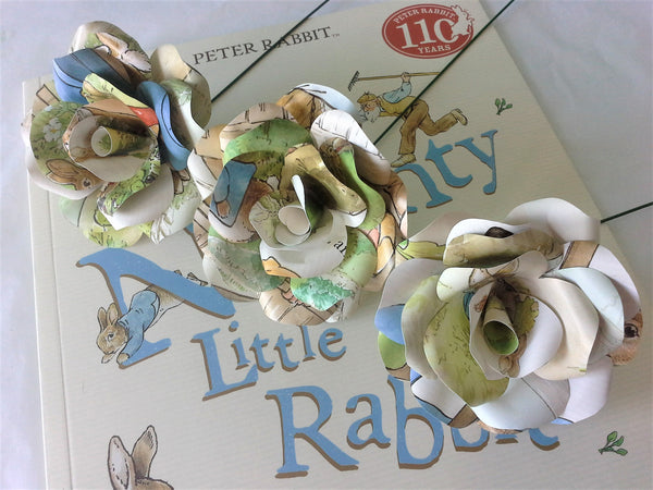 3 x Peter Rabbit Paper Roses - Beatrix Potter Paper Flowers