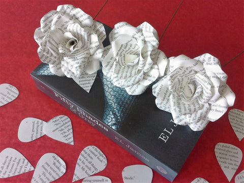 3 x Fifty Shades of Grey Roses, Book Page Paper Flower Roses - handmade flowers, Gift, Wedding, Bridal Shower - E.L. James