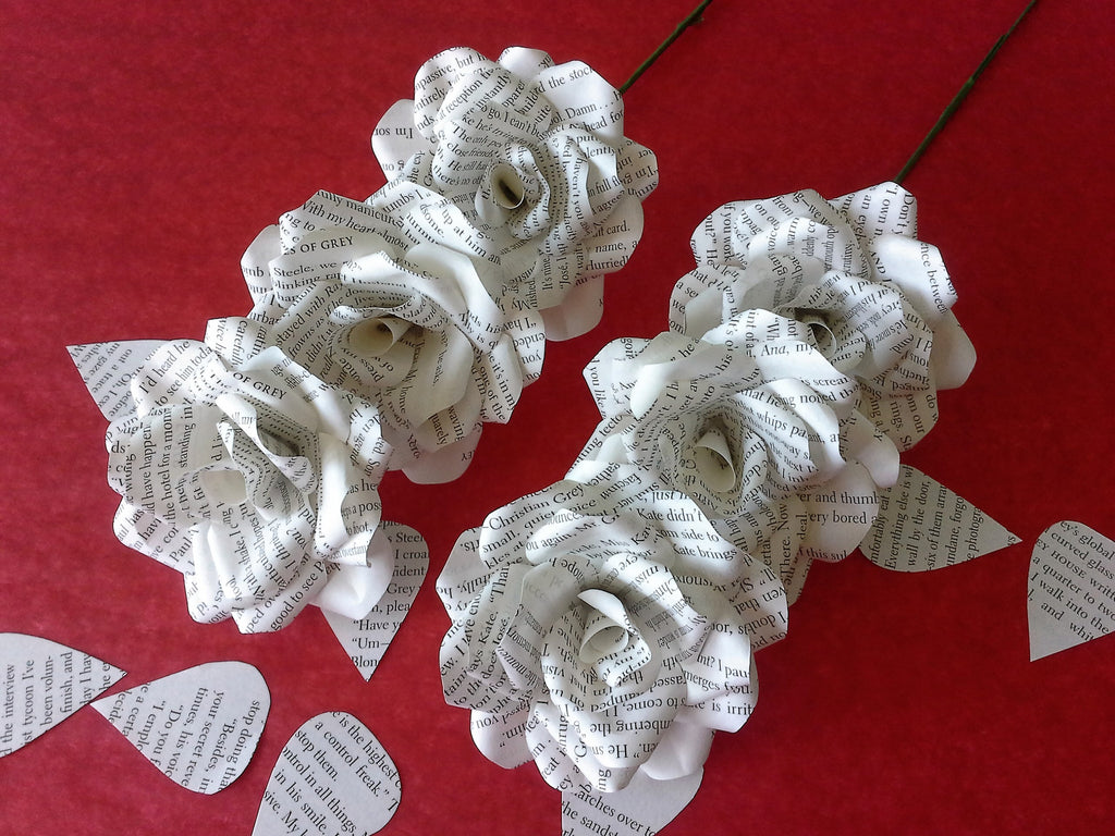 6 x fifty shades of grey book page paper flower roses handmade 6 x fifty shades of grey book page paper flower roses handmade flowers dhlflorist Image collections