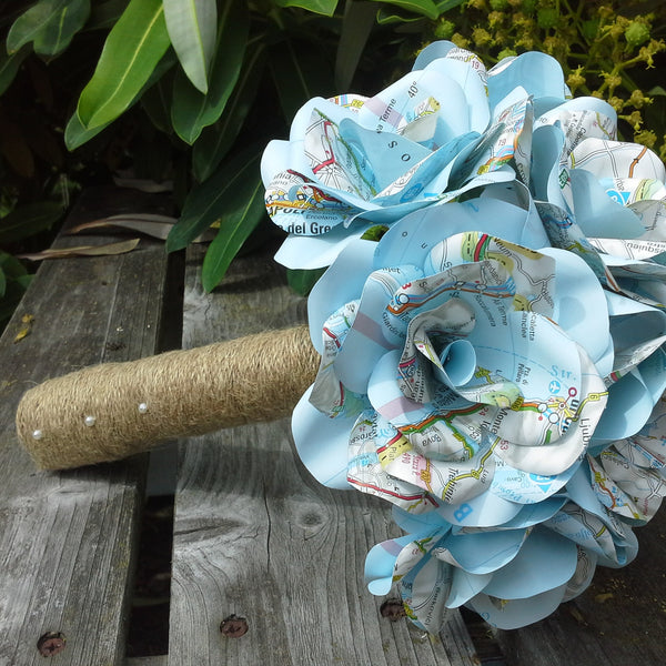Map Paper Flower Bridal Bouquet