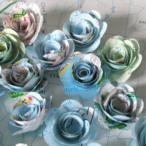 25 x Map Page Rolled Roses