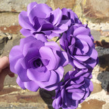 6 x Dark Purple Paper Roses