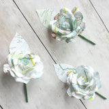 Map Paper Flower Buttonholes