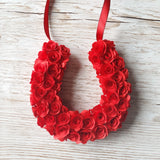 Red paper rose wreath