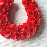 Red paper flower wreath