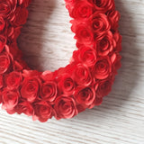 Lucky red paper rose horseshoe