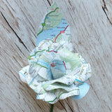Map Paper Flower Buttonhole with Map Leaf
