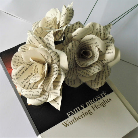 3 x Wuthering Heights Book Paper Roses