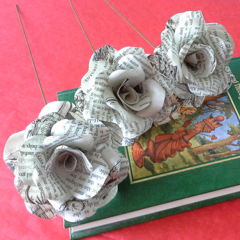 3 x Alice In Wonderland Book Paper Roses