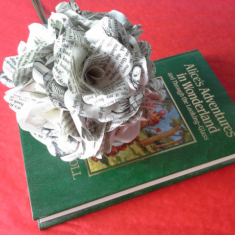 6 x Alice In Wonderland Book Page Paper Flower Roses - handmade flowers