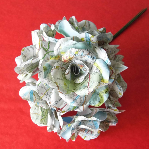 6 x Map Paper Flower Roses